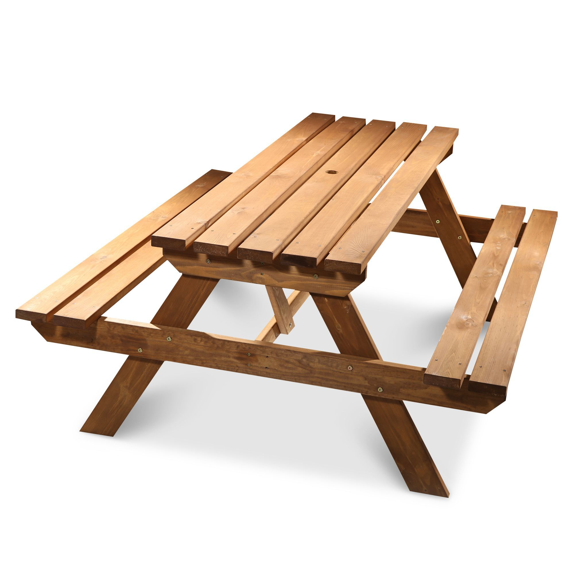 Agad Wooden 6 Seater Picnic Table Departments Diy At B Amp Q
