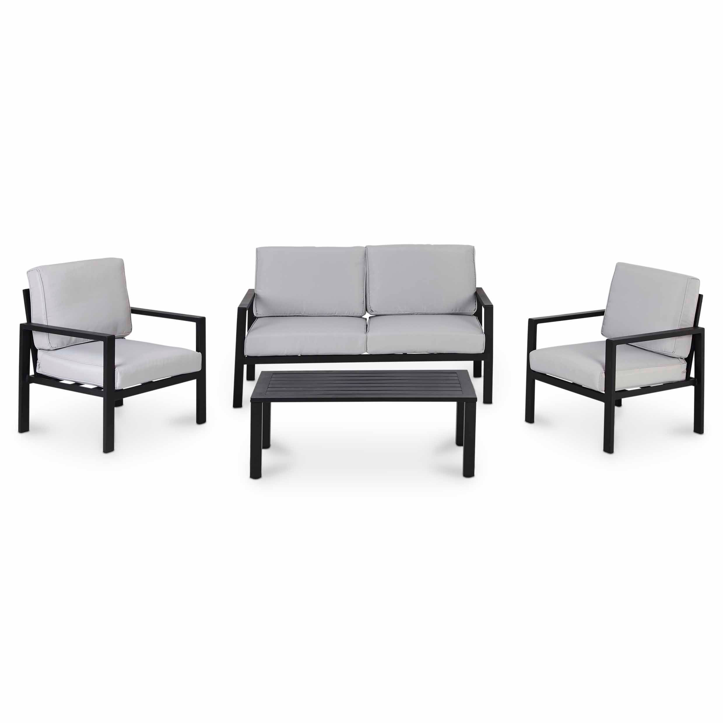 jaz metal 4 seater coffee set departments diy at b q. Black Bedroom Furniture Sets. Home Design Ideas