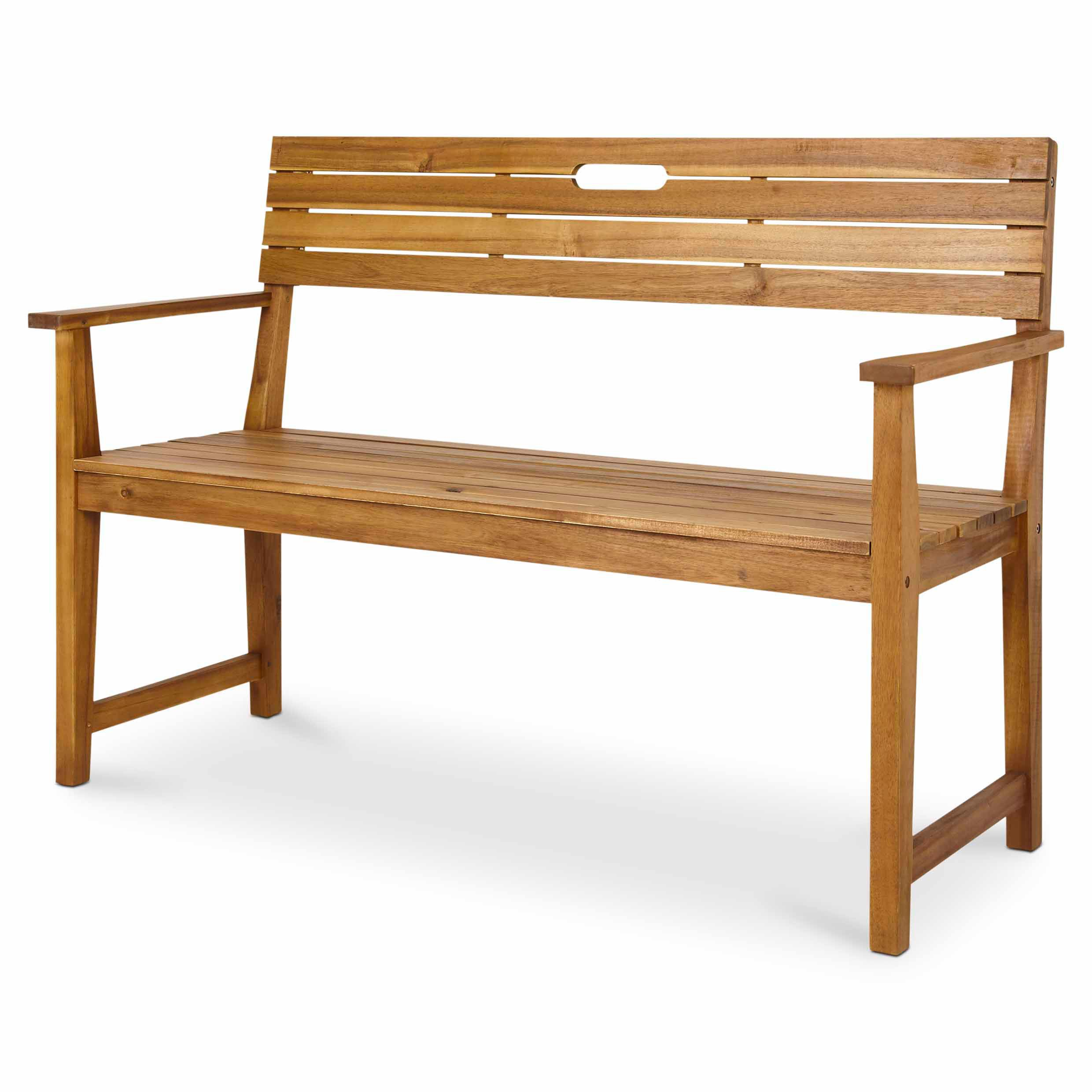 Denia Wooden Natural Bench Departments Diy At B Q