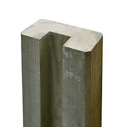 Blooma Neva Natural wood Slotted half fence post