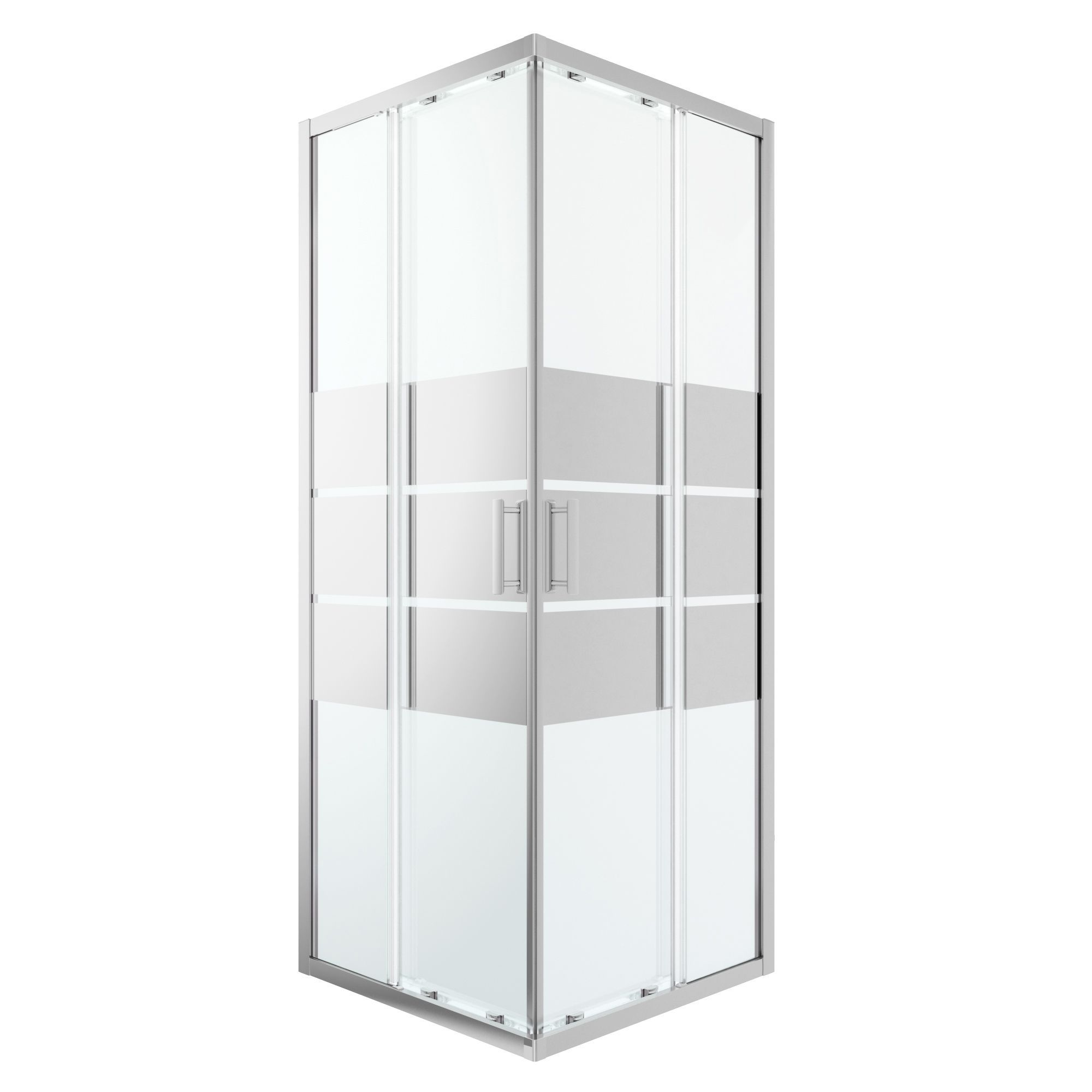 Goodhome Beloya Square Shower Enclosure With Corner Entry Double Sliding Door Mirror Glass W 760mm D 760mm Departments Diy At B Q