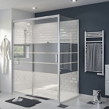 Beloya shower enclosure with mirror finish sliding door and fixed panel