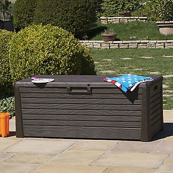Lomani Wood Effect Plastic Garden Storage Box
