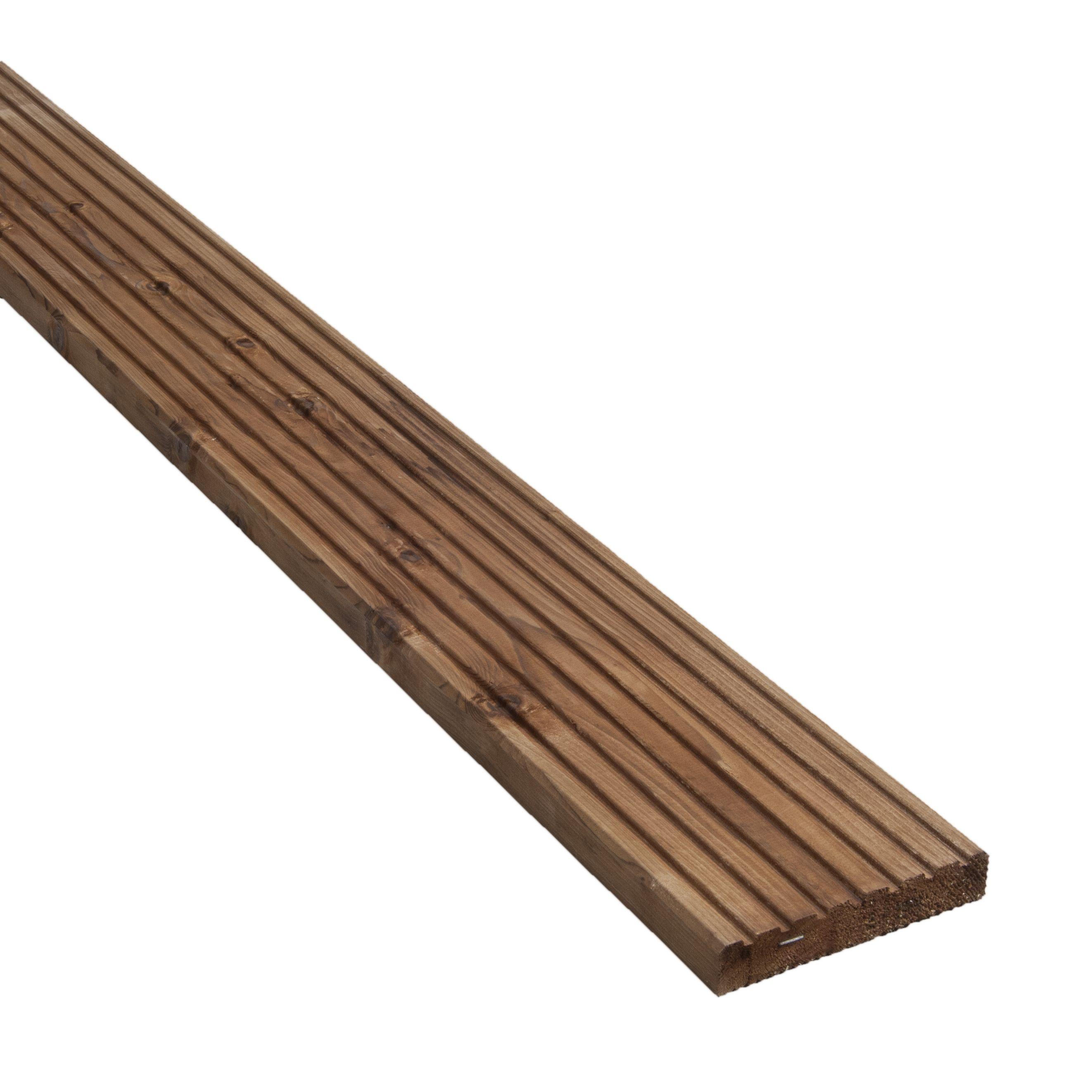Board >> Blooma Nevou Premium Brown Spruce Deck Board (T)27mm (W)144mm (L)2400mm | Departments | DIY at B&Q