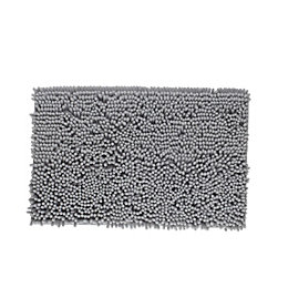 Cooke & Lewis Abava Silver Polyester Bath Mat