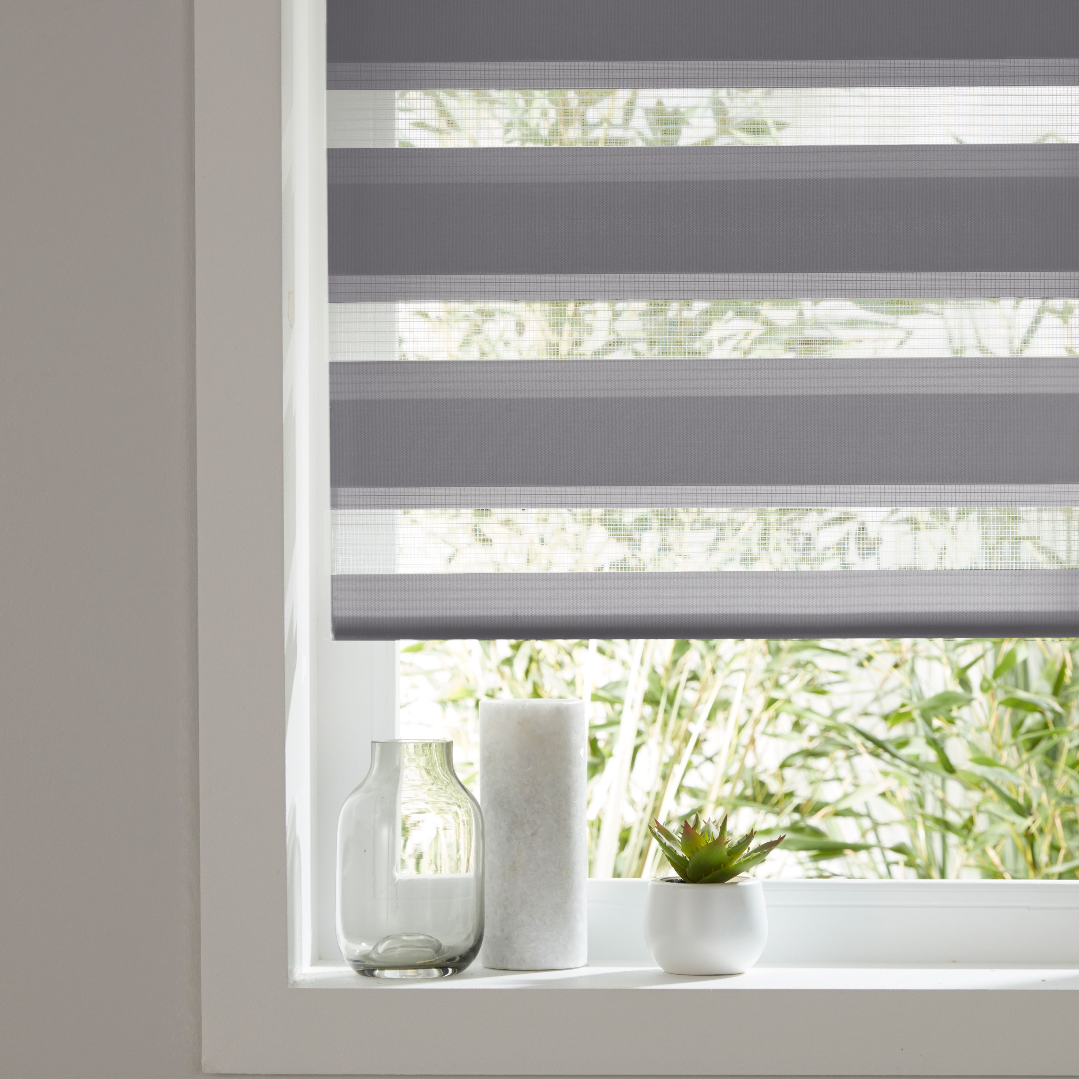 Colours Elin Day Amp Night Corded Dark Grey Roller Blind L