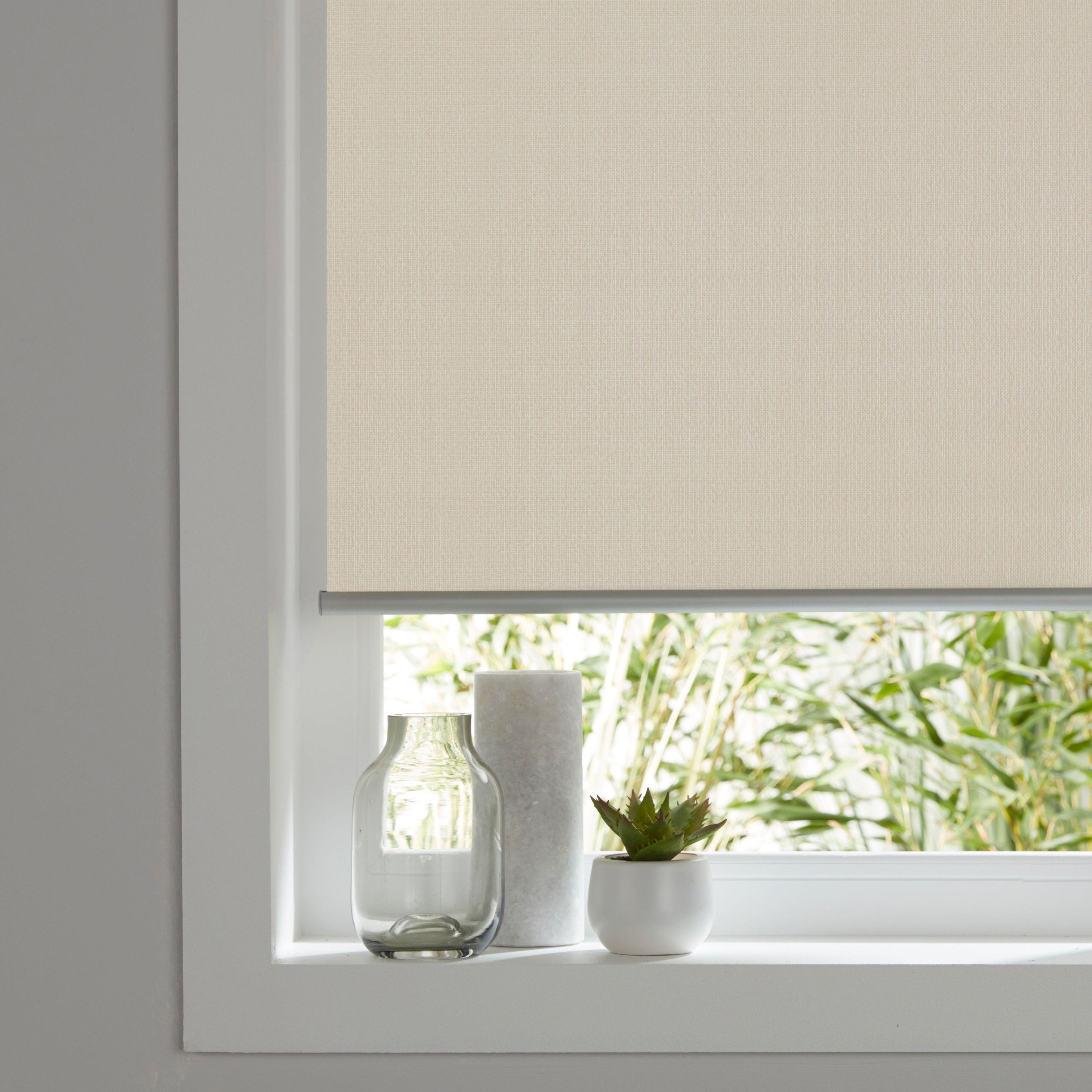Ilas Corded Cream Plain Blackout Roller Blind W 90cm L