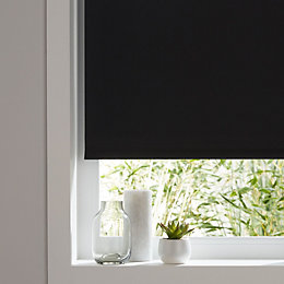 Colours Boreas Corded Black Blackout roller blind (L)180