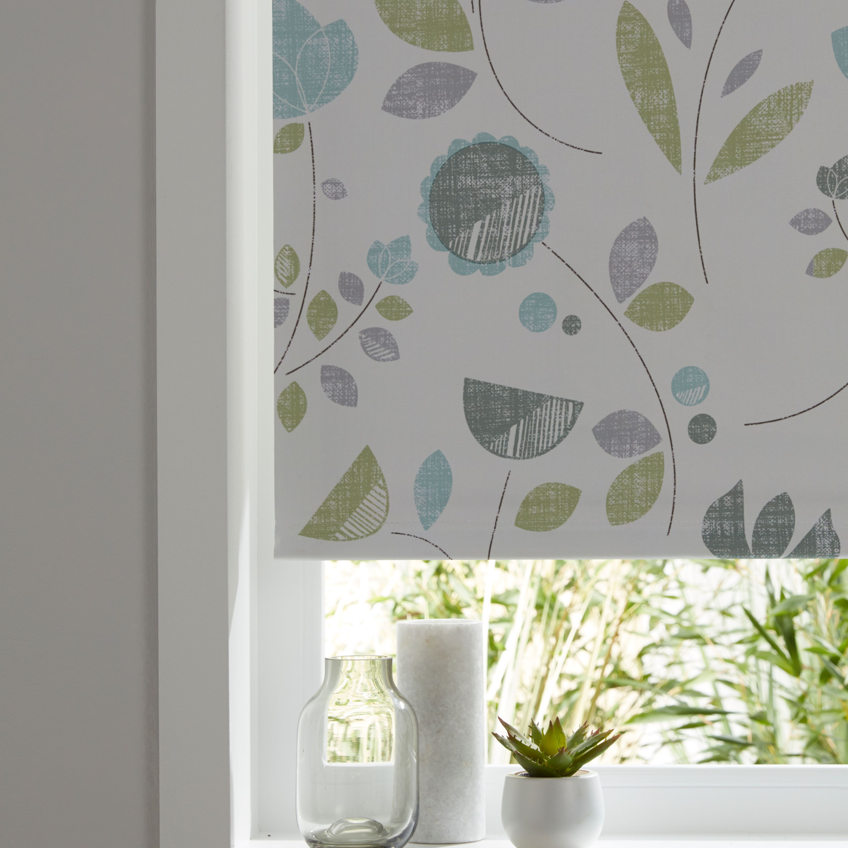 Boreas Corded Green Amp White Floral Blackout Roller Blind