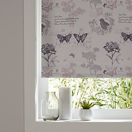 Colours Boreas Corded Ivory & Pink Roller Blind