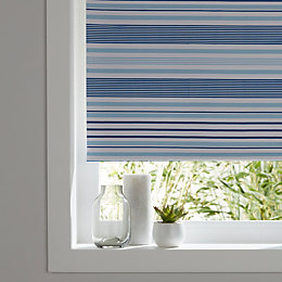 Colours Boreas Corded Blue Blackout roller blind (L)195