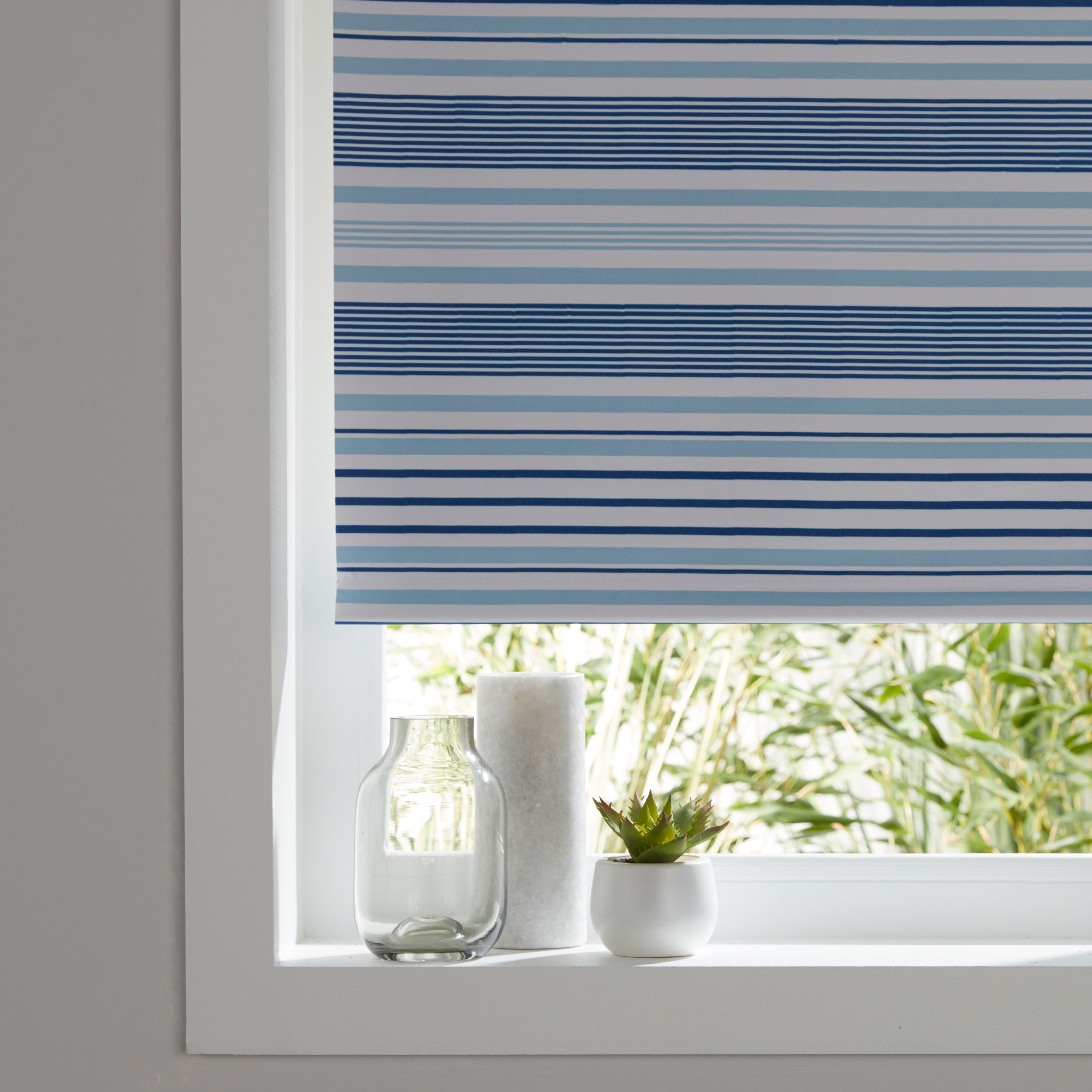 Boreas Corded Blue Striped Blackout Roller Blind W 180cm
