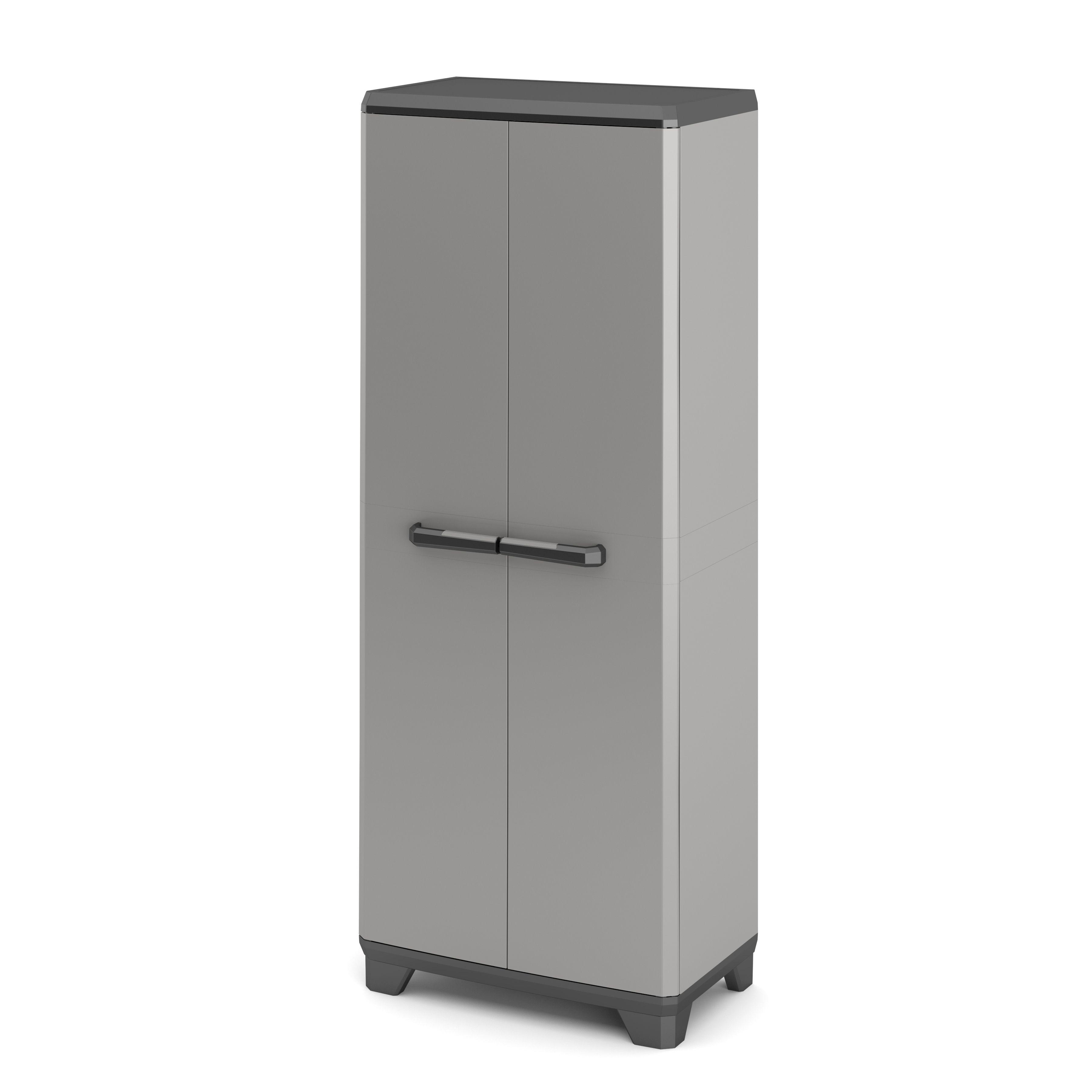 B Q Kitchen Cabinets Sale: Black & Grey High Utility Storage Cabinet (H)1730mm (W