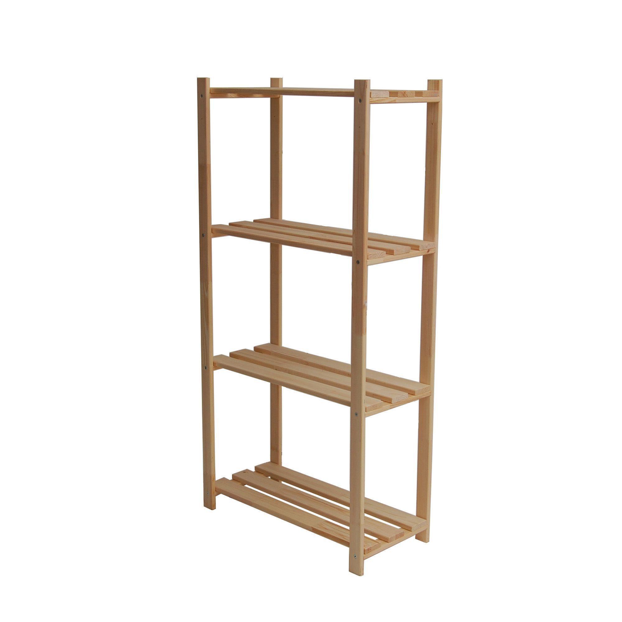 4 Shelf Wood Shelving Unit H 1300mm W 650mm Departments Diy At B Q