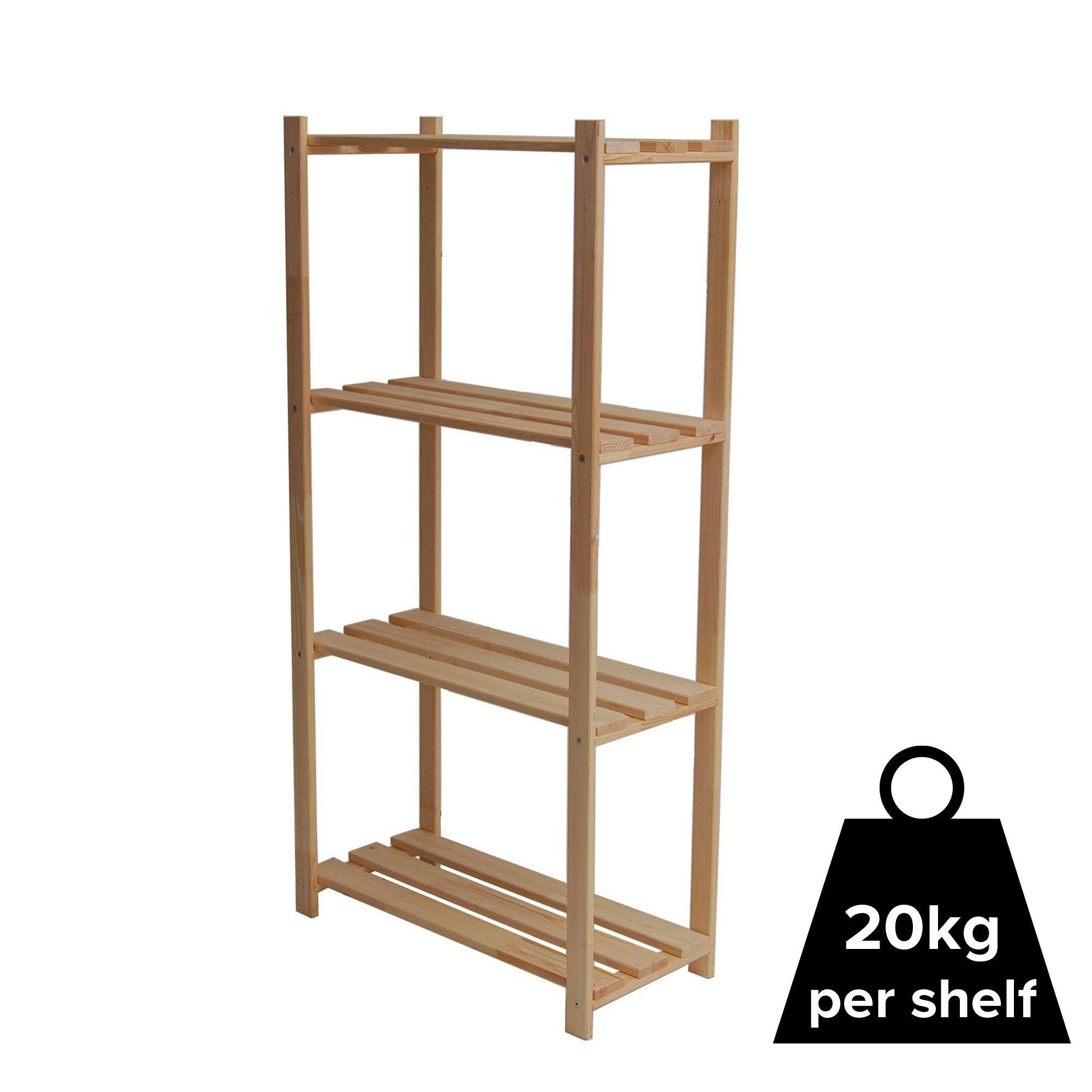 Diy Shelving Unit: 4 Shelf Wood Shelving Unit