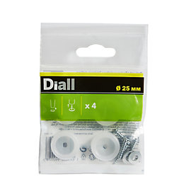 B&Q White Plastic End (Dia)25mm, Pack of 4
