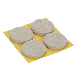 B&Q Beige Felt Pad (Dia)34mm, Pack of 4