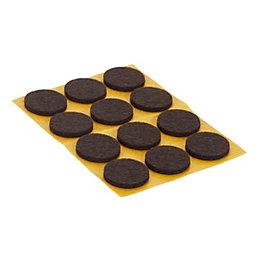 B&Q Brown Felt pad (Dia)22mm, Pack of 12