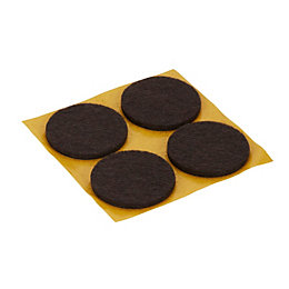 B&Q Brown Felt Pad (Dia)34mm, Pack of 4