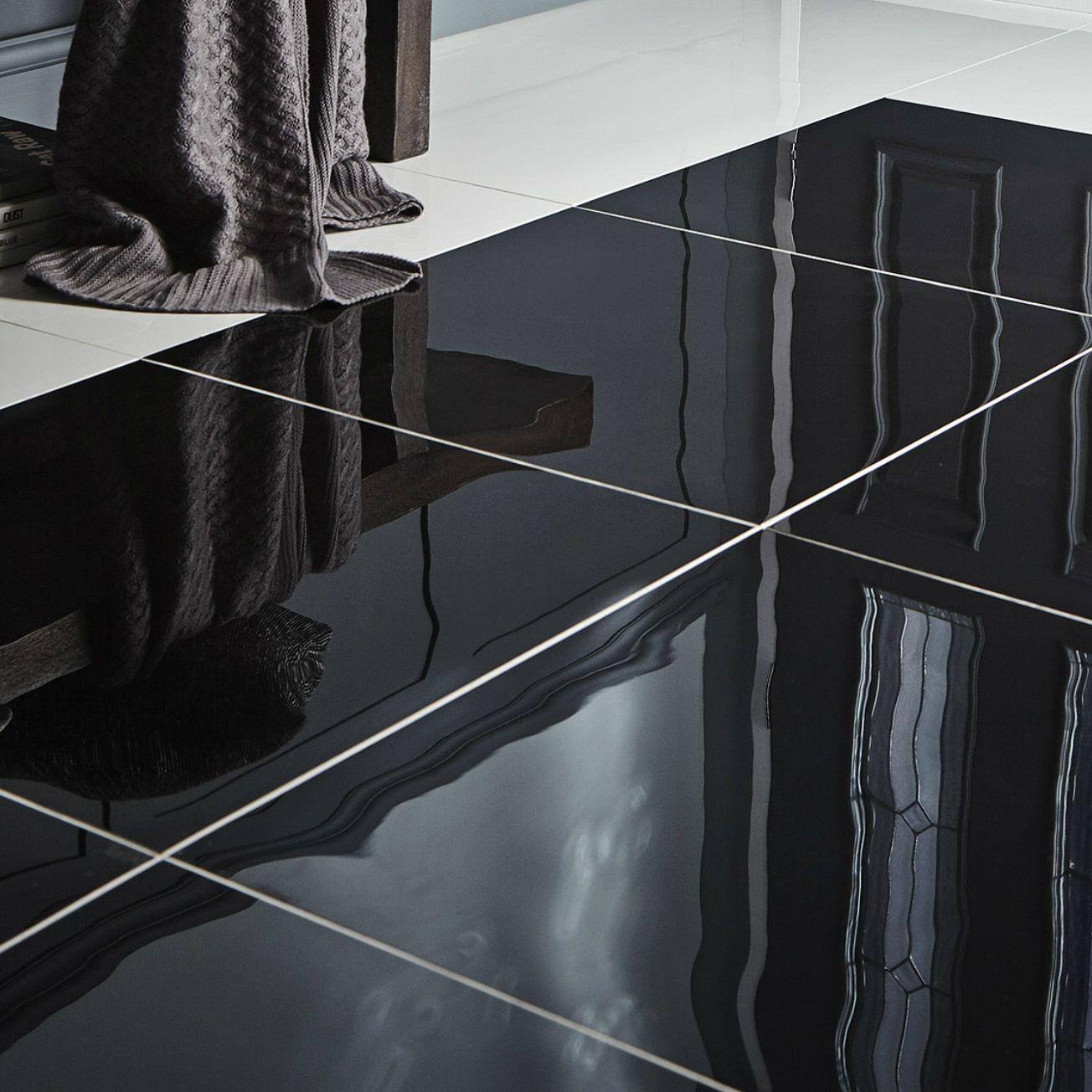 Black Kitchen Tiles B Q: Livourne Black Polished Porcelain Floor Tile, Pack Of 3