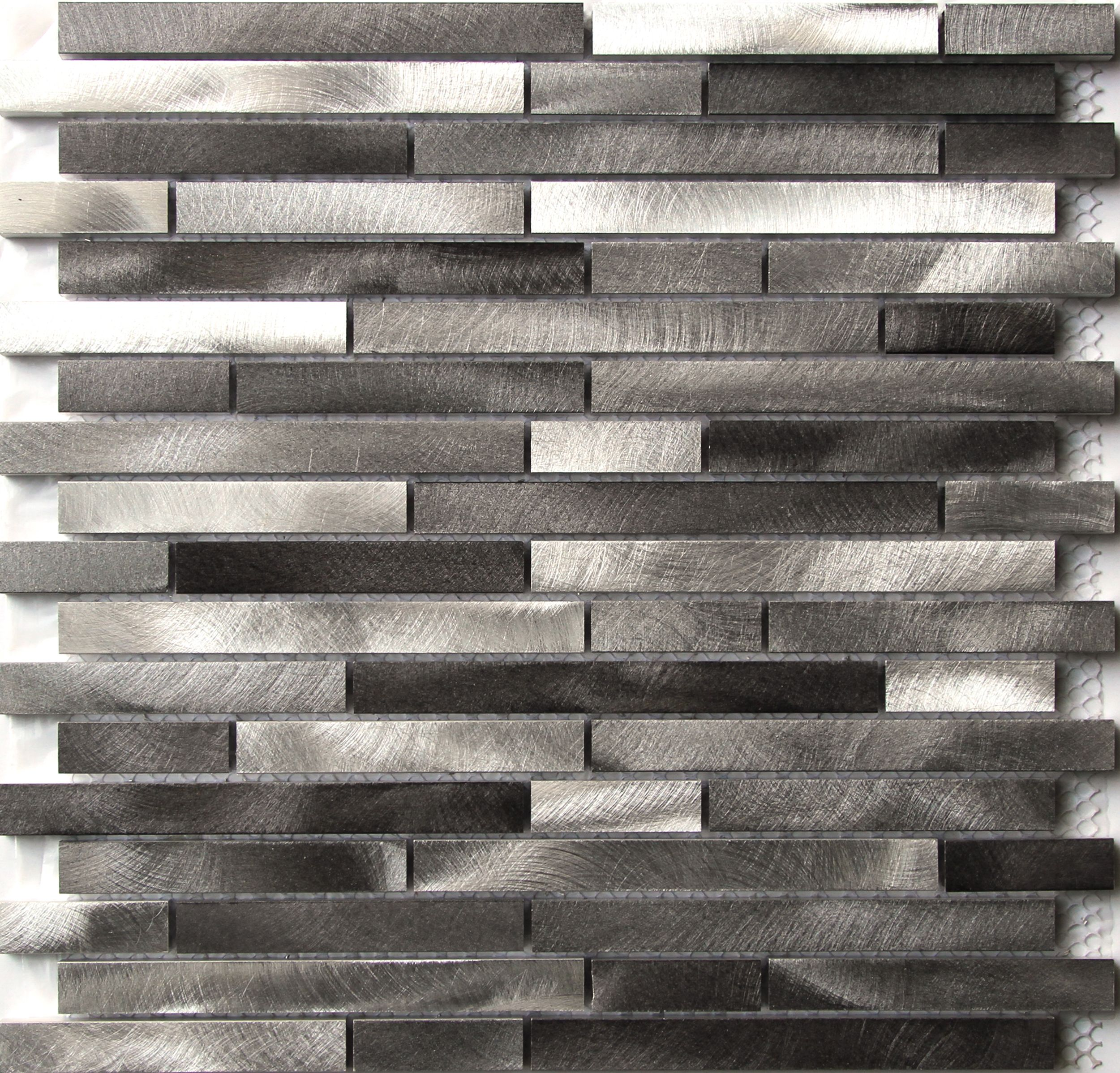 naplo grey aluminium mosaic tile l 300mm w 300mm. Black Bedroom Furniture Sets. Home Design Ideas