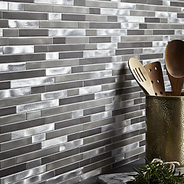 Naplo Grey Aluminium Mosaic tile, (L)300mm (W)300mm