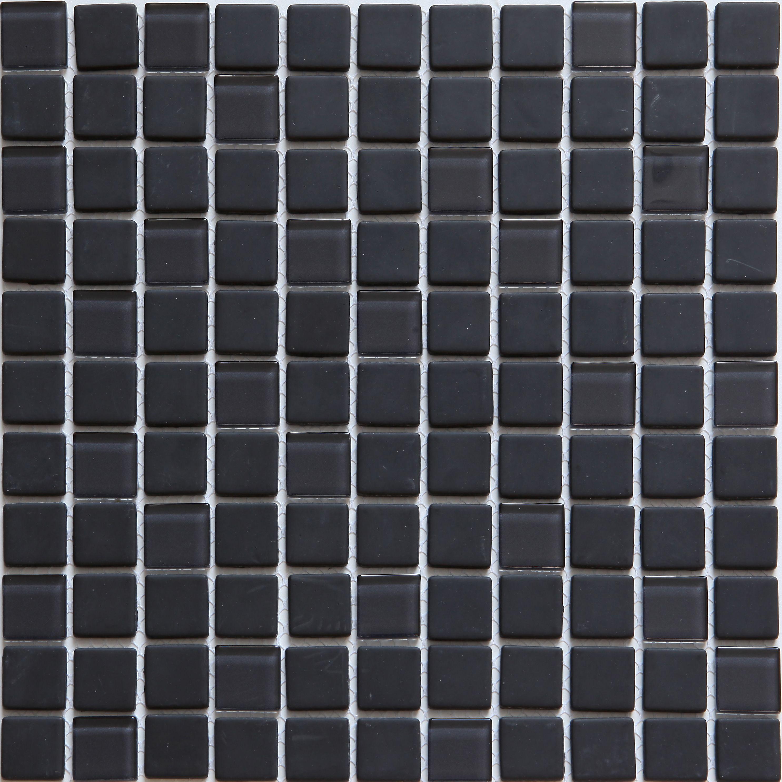Genovia Black Grey Glass Mosaic Tile L 300mm W 300mm Departments Diy At B Q