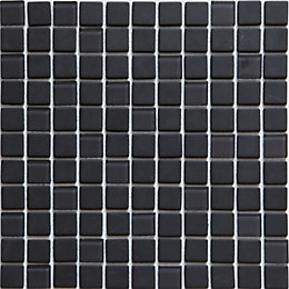 Genovia Black & grey Glass Mosaic tile, (L)300mm