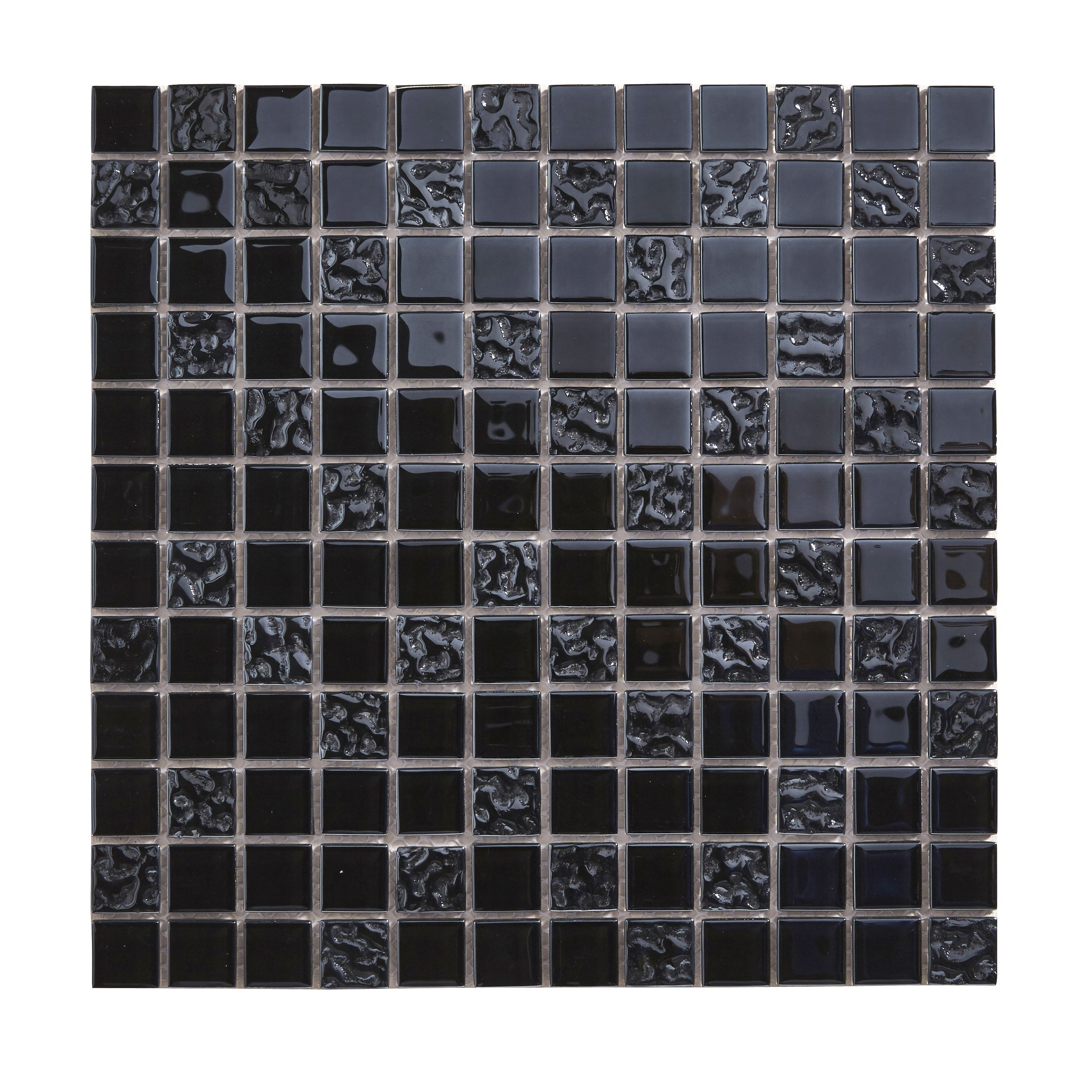 Brown Mosaic Glass Stone Wall Tile L 300mm W 308mm: Flourencia Black Glass Mosaic Tile, (L)300mm (W)300mm