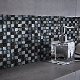 Barya Black & blue Glass & marble Mosaic