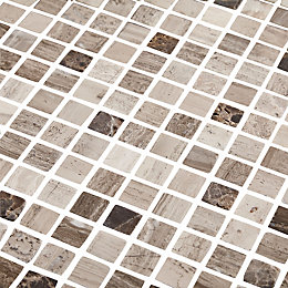 Catane Brown & grey Marble Mosaic tile, (L)320mm