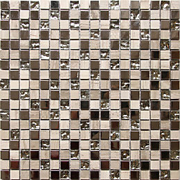 Mecine Grey Glass & marble Mosaic tile, (L)300mm