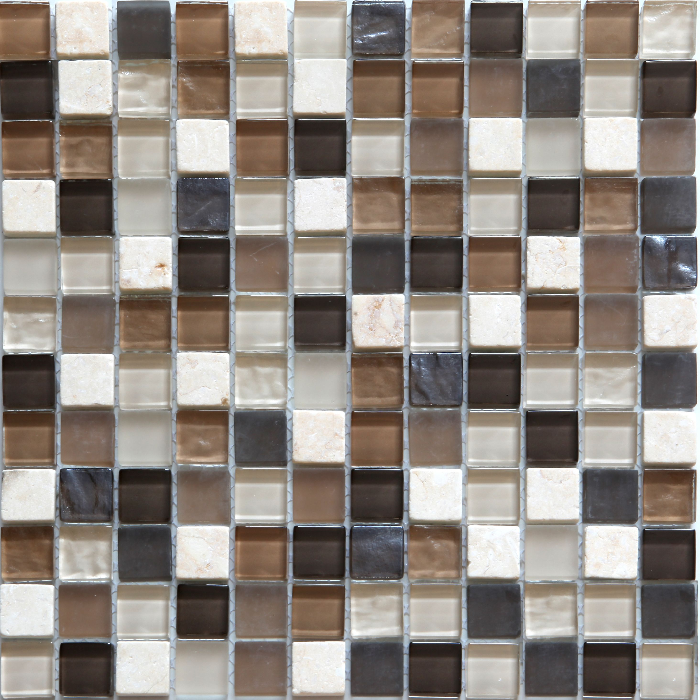 Brown Mosaic Glass Stone Wall Tile L 300mm W 308mm: Triesto Beige & Brown Glass & Marble Mosaic Tile, (L)300mm