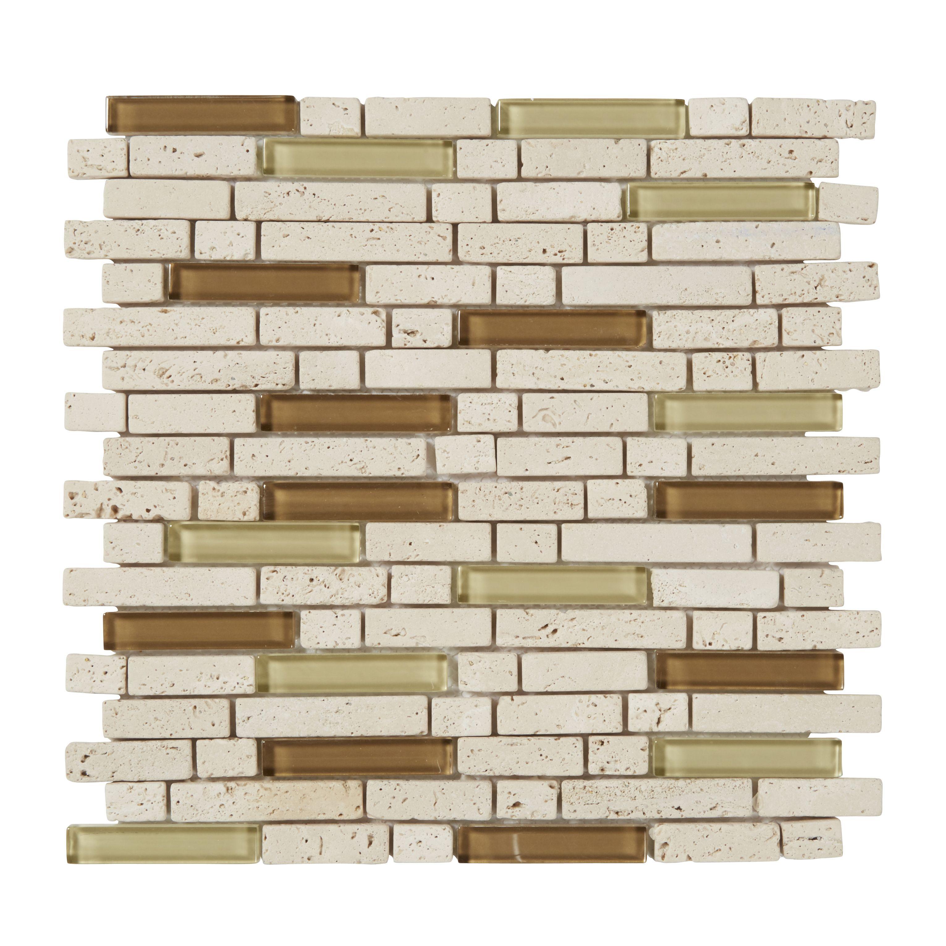 Cagliari Beige & brown Glass & stone Mosaic tile, (L)300mm (W)300mm    Departments   DIY at B&Q