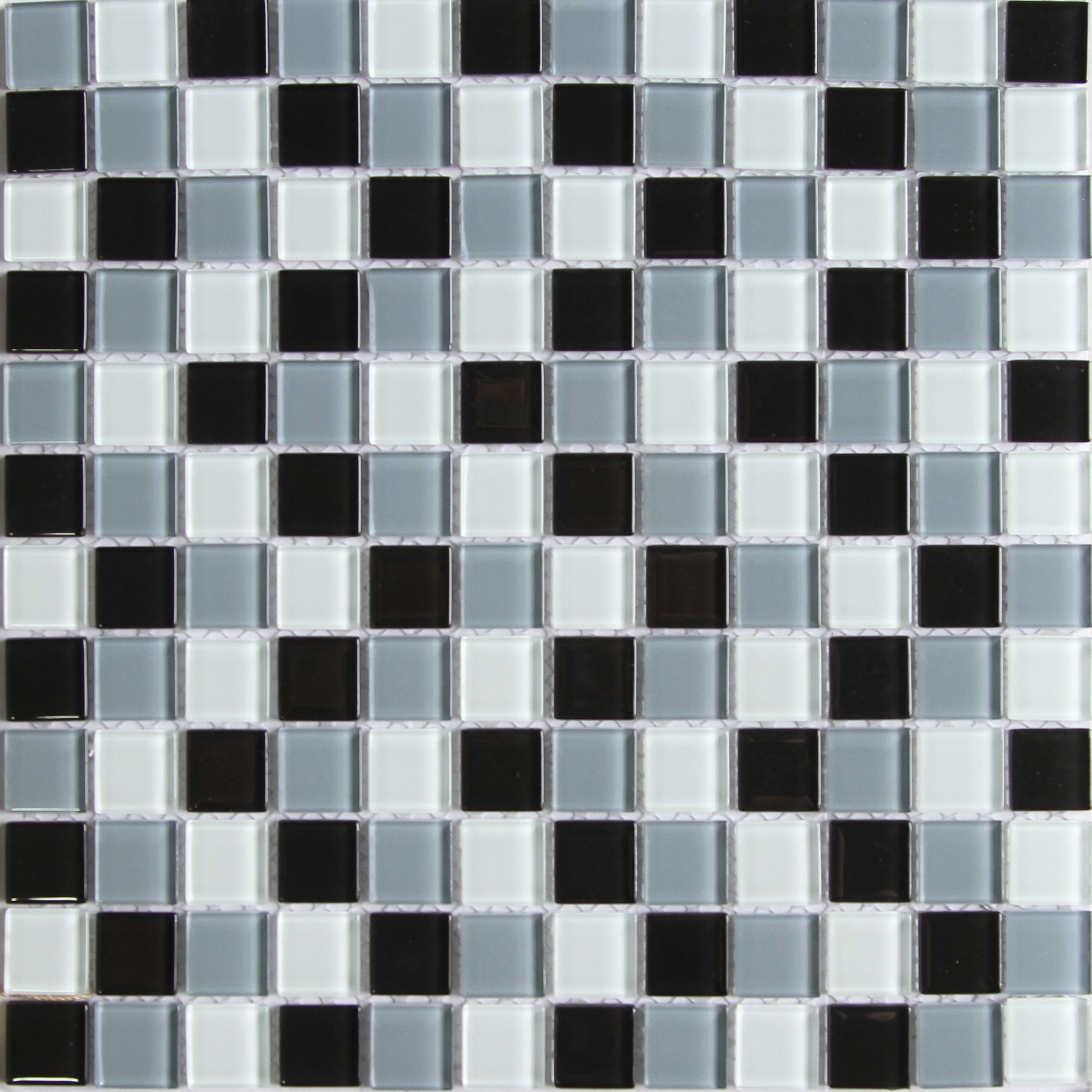 Tarente Black, grey & white Glass Mosaic tile, (L)300mm (W)300mm ...