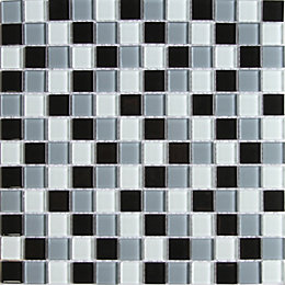 Tarente Black, grey & white Glass Mosaic tile,
