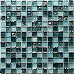 Bressia Blue & Green Glass Mosaic Tile, (L)306mm