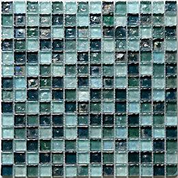 Bressia Blue & green Glass Mosaic tile, (L)306mm