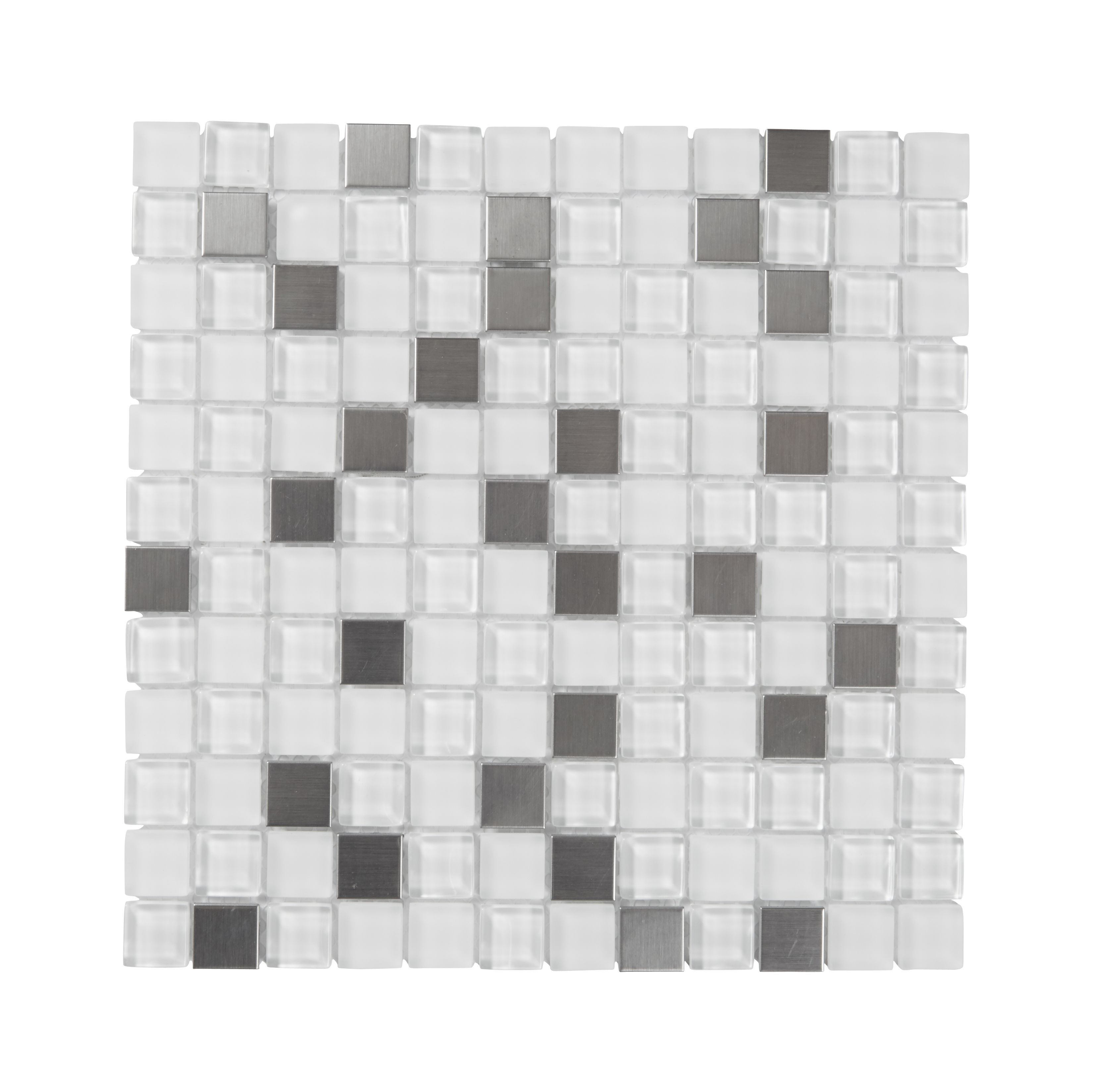 Green Glass Marble Mosaic Tile L 300mm W 300mm: Prate Grey & White Glass & Stainless Steel Mosaic Tile, (L