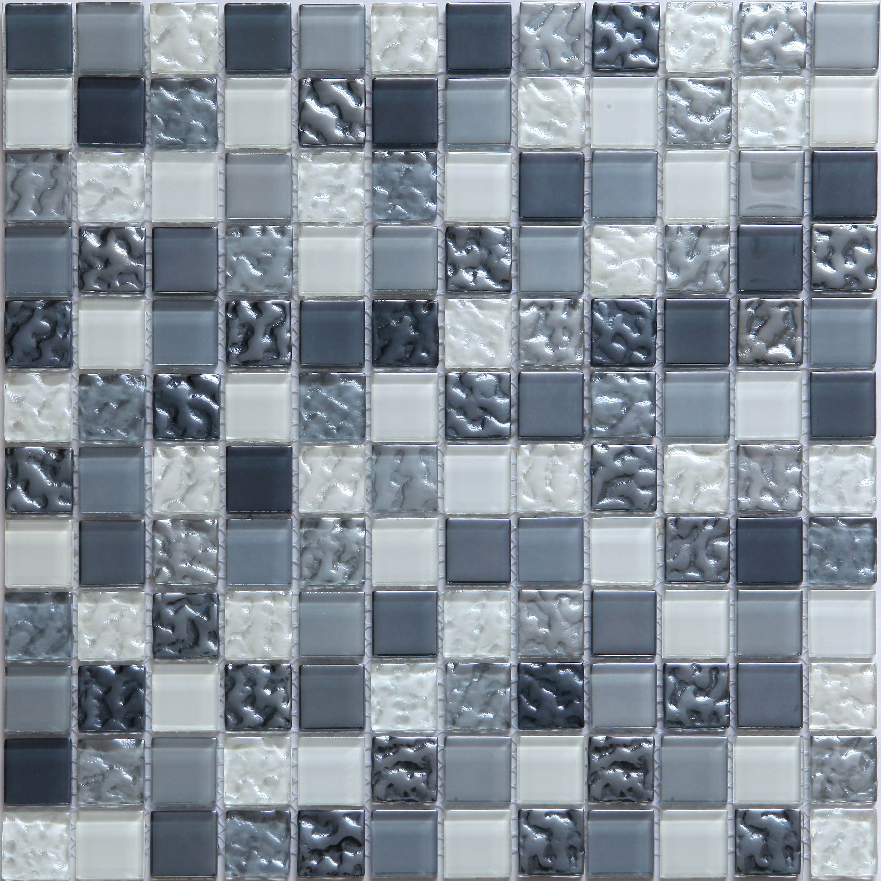 Green Glass Marble Mosaic Tile L 300mm W 300mm: Calabria Grey & White Glass Mosaic Tile, (L)300mm (W)300mm