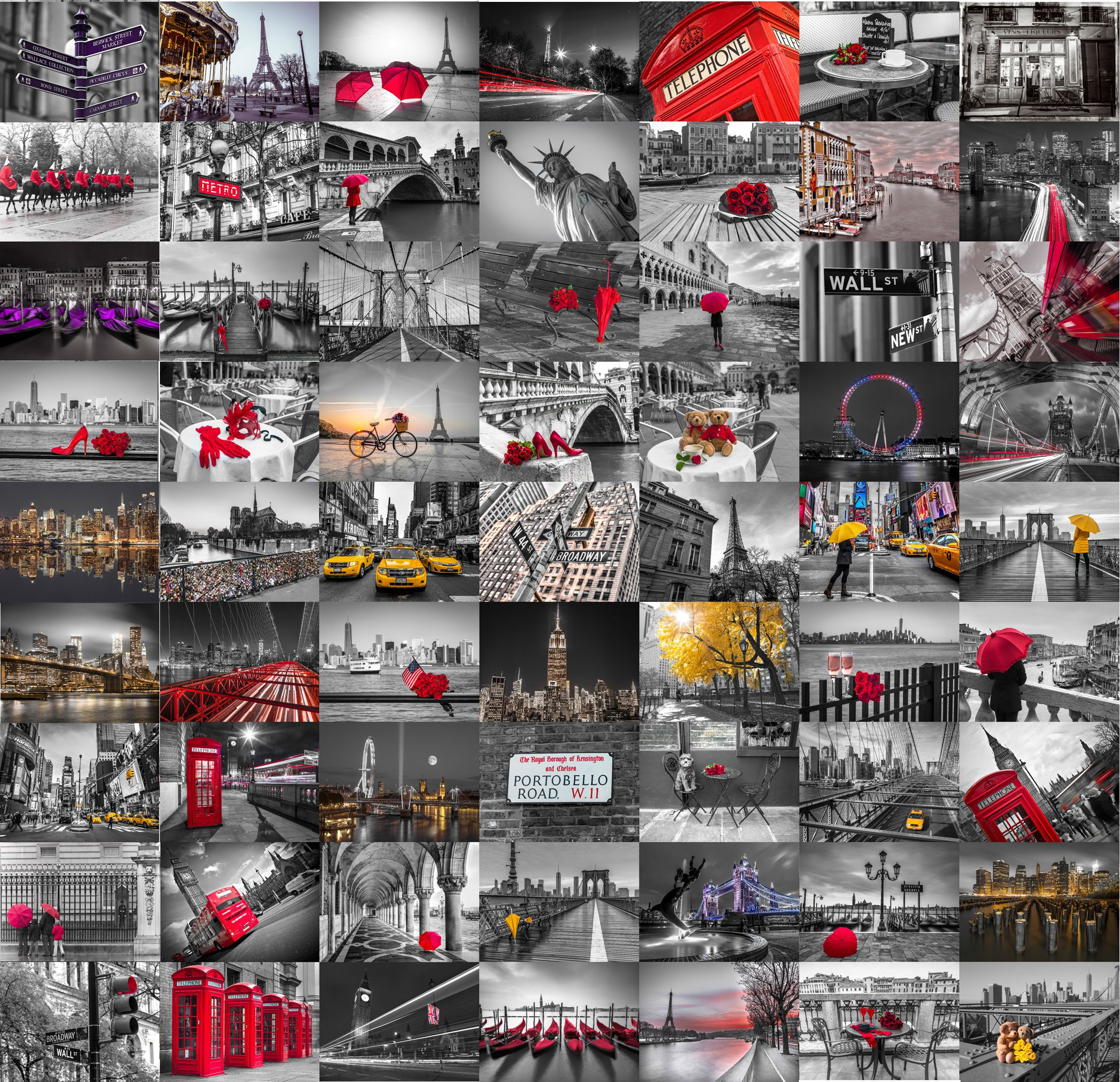 1wall Black Red Amp White City 64 Piece Wallpaper Collage