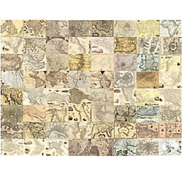 1Wall Cream World maps 64 piece wallpaper collage