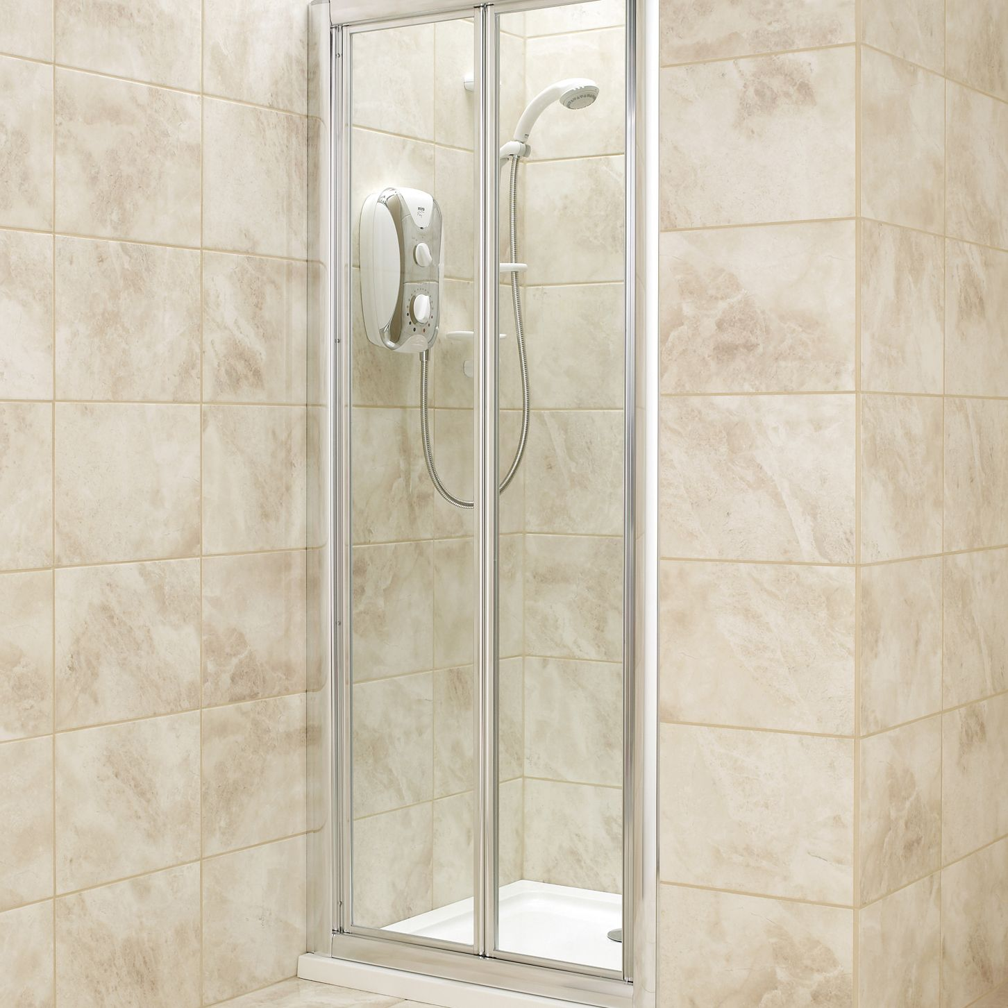 B Q Shower Door With Bi Fold Door W 760mm Departments Diy At B Q