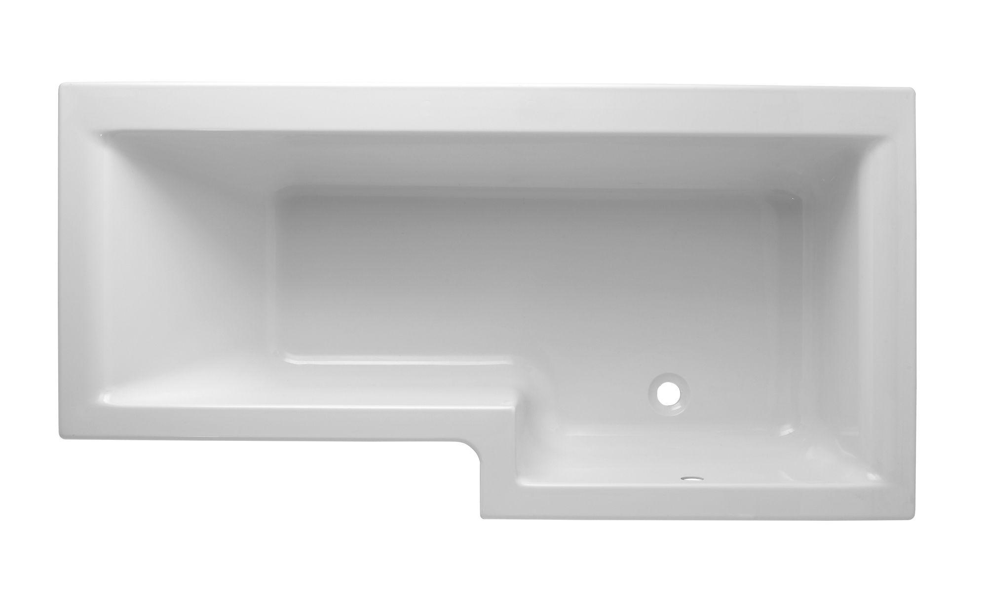 Cooke Lewis Adelphi Rh Acrylic L Shaped Shower Bath L 1675mm W 850mm Departments Diy At B Q