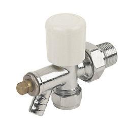 Plumbsure White Chrome effect Radiator valve with drain