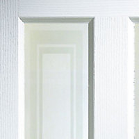 4 panel Etched Frosted Glazed Primed White Woodgrain effect Internal Door, (H)1981mm (W)762mm