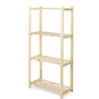 4 shelf Wood Shelving unit (H)1300mm (W)650mm