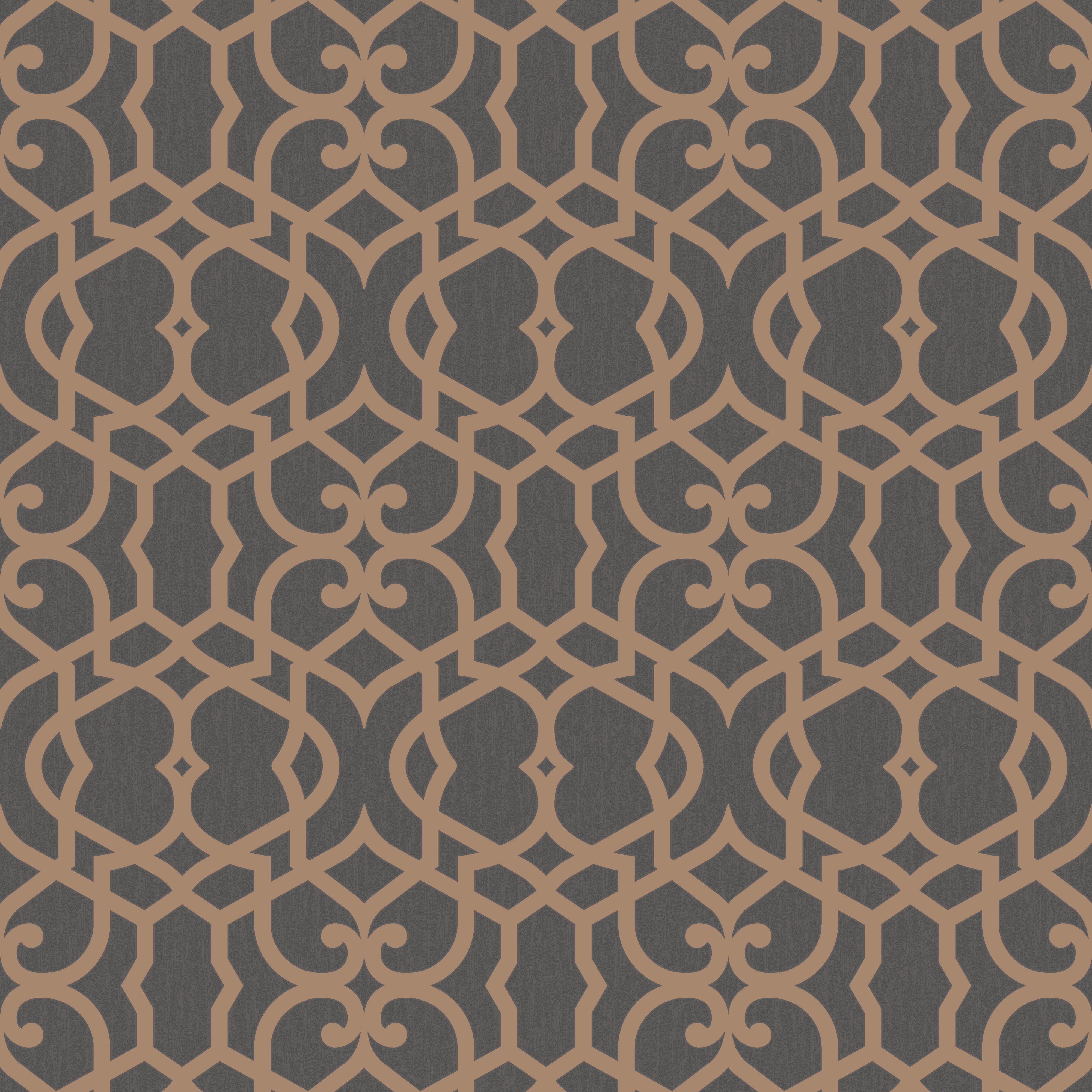 marrakech chocolate fretwork textured wallpaper