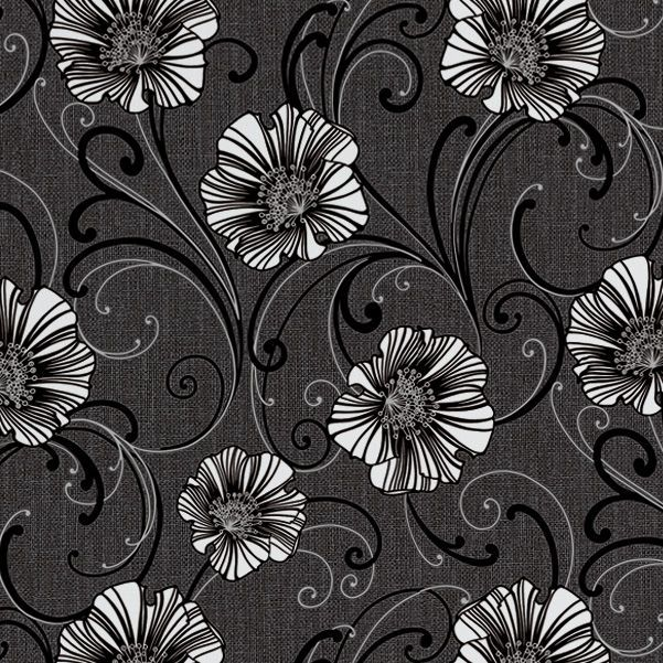 AS Creation Liberty Dark Grey White Floral Wallpaper