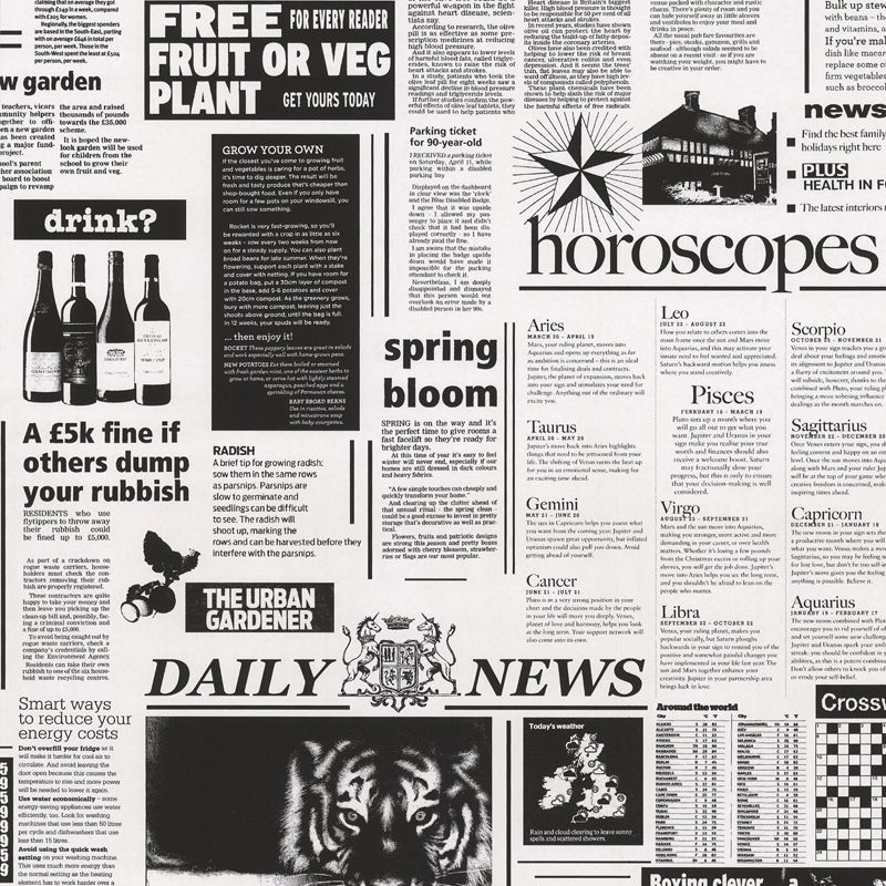 Statement Black amp White Newspaper Wallpaper Departments